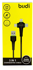 BUDI 3 IN 1 UNIVERSAL CABLE/SYNC CABLE APPLE SAMSUNG HUAWEI OPPO