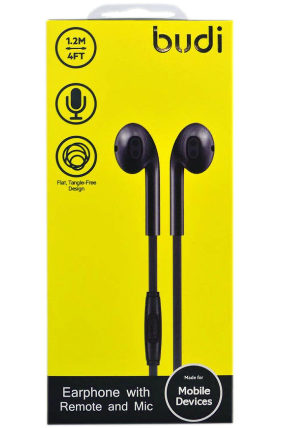 BUDI M8J102EP EARPHONE WITH REMOTE AND MIC BLK