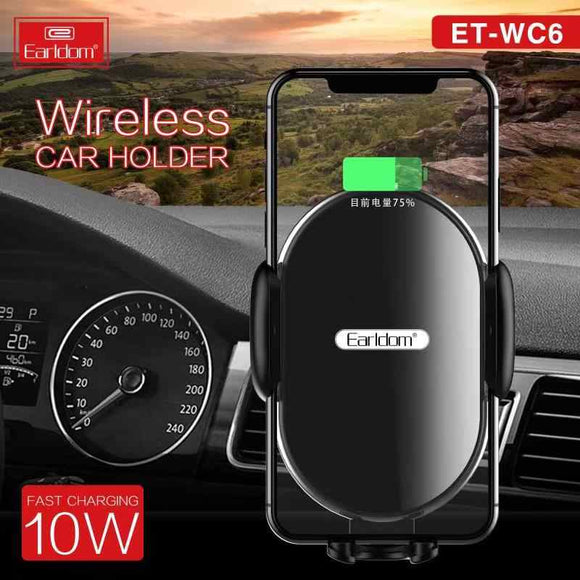 Earldom Automatic Clamping Wireless 2 In1 Qi Wireless Car Charger for IPhone Fast Wireless Charger Car Phone Holder Stand