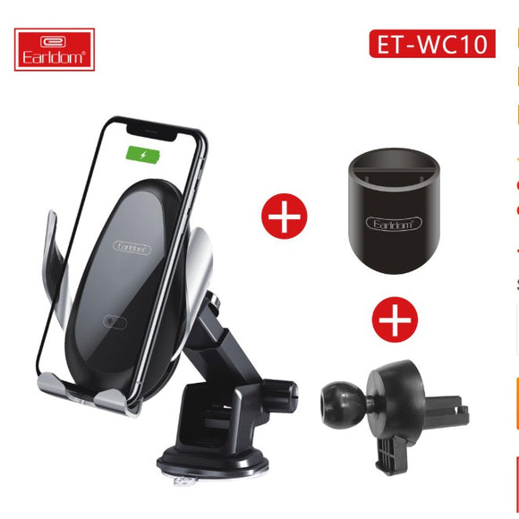 EARLDOM 3 IN 1 CAR MOUNT Wireless Car Charger Mount Phone Holder Air Vent Dashboard Smart Stand