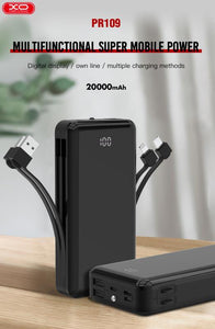XO POWER BANK DISPLAY POWER PR109 20000mAh Charging cable Portable External Battery For mobile Phones