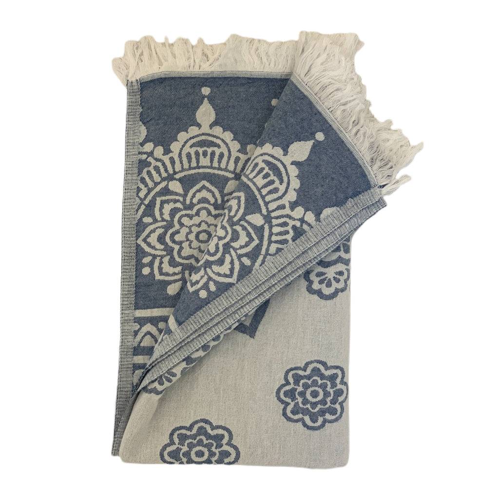 Ivory and Blue Beach Towel with floral design