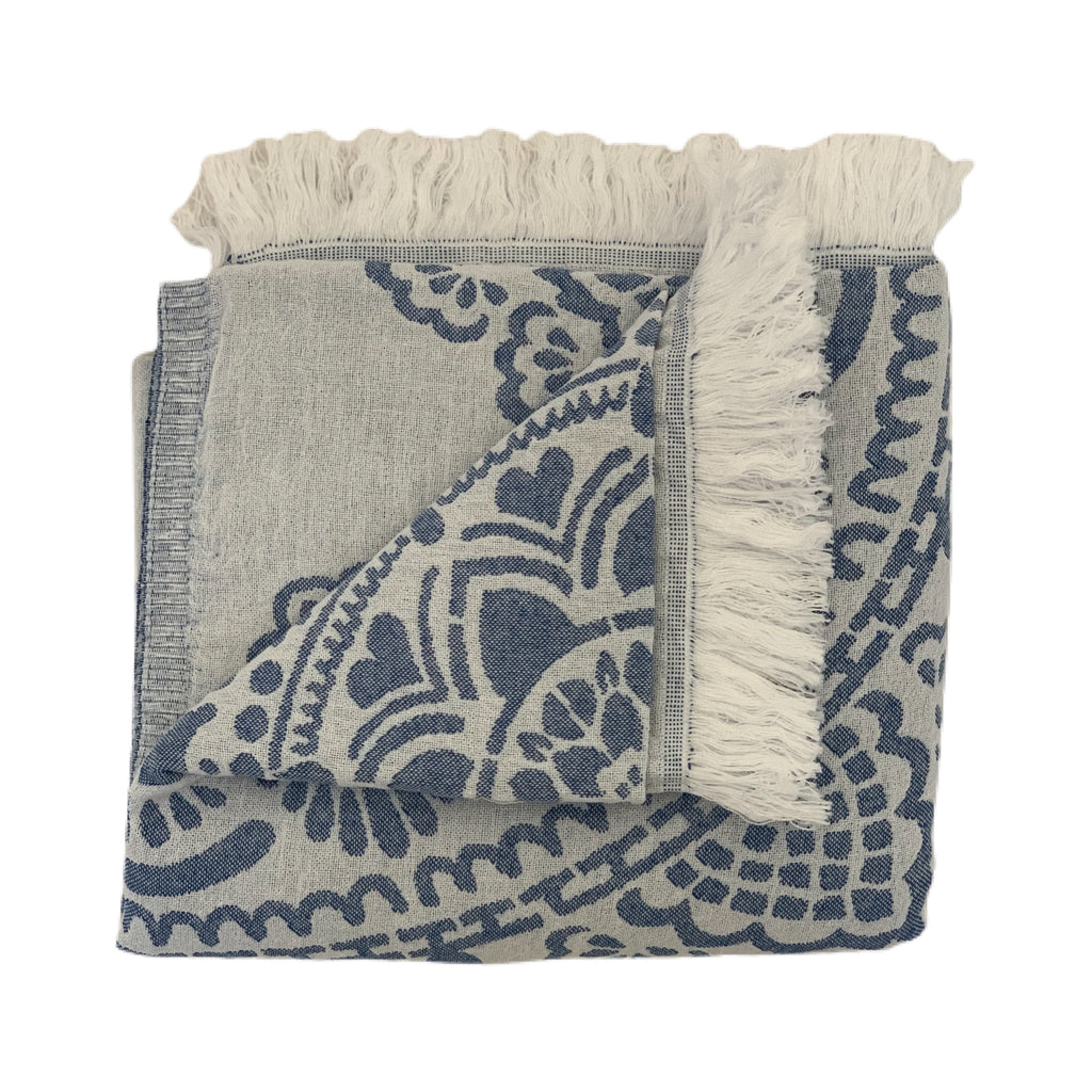 Ivory and Blue Beach Towel with flower design
