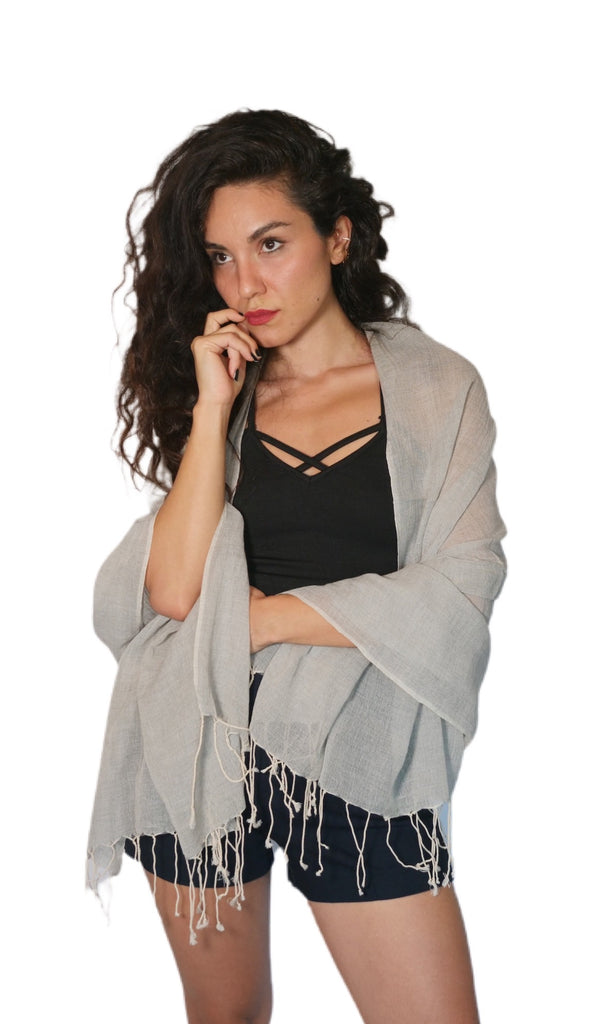 100% Cotton Gray Scarf or Shawl