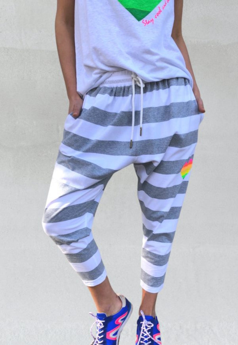Jersey Stripe Pant || Grey & White || Hammill & Co