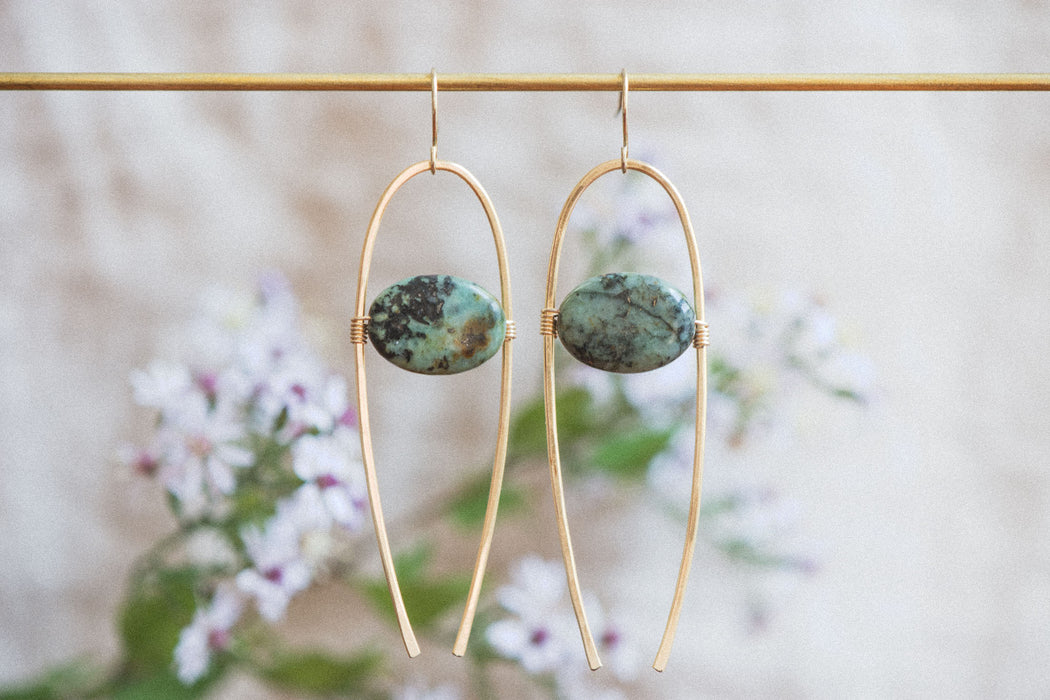 African Turquoise Wishbone Earrings