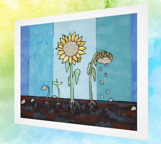 Sunflower Cycle Art Print
