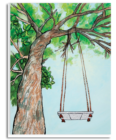 Tree and Swing Greeting Card