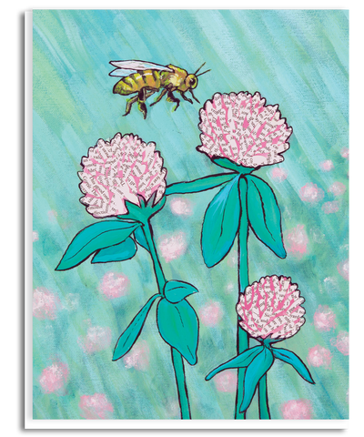 Clover and Bee Greeting Card