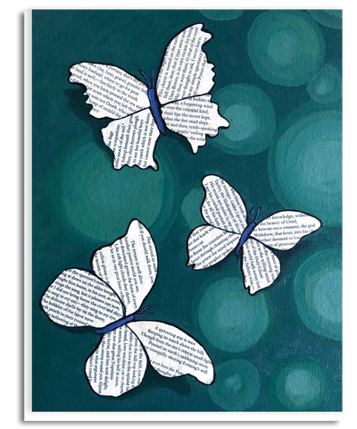 Bookerflies Dark Green Greeting Card