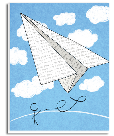 WS009: I Love you Paper Plane Greeting Card