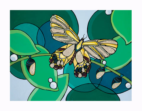 A print of the Bookerfly Painting featuring a butterfly by Blue Desk Art