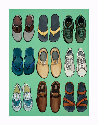 Art Print of a painting of shoes by blue desk art