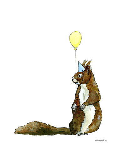 Party Squirrel Art Print