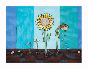 Fine Art Print of a painting depicting a sunflower growth cycle by Blue Desk Art