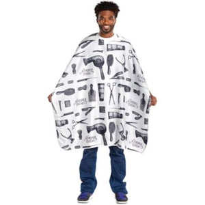 Scalpmaster Barber Print Styling Cape - White