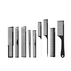 Elegance 9 Piece Carbon Comb Set