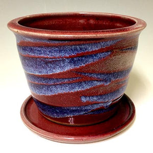 Regular Joe  Planter - Copper Red - Blue Stripe Glazes