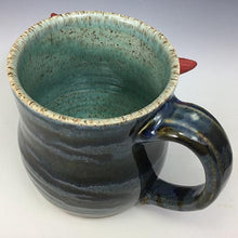 Load image into Gallery viewer, Medium FaceMug - Righty - Twilight Blue Glaze - Earnest/RHorns