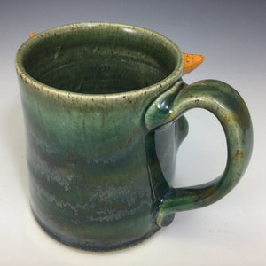 Medium FaceMug - Righty - Oscar Green Glaze - Stogie/OHorns