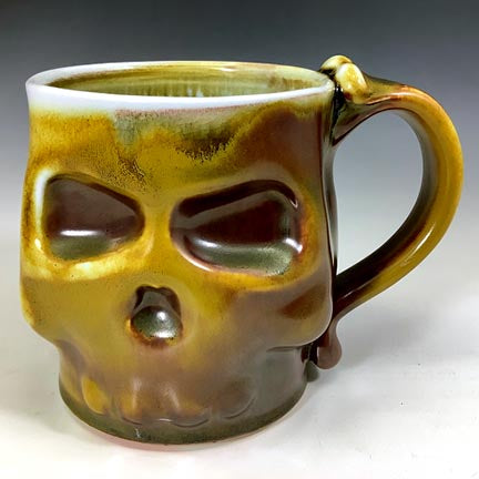 Skull Mug - Wood-fired Iron Glaze