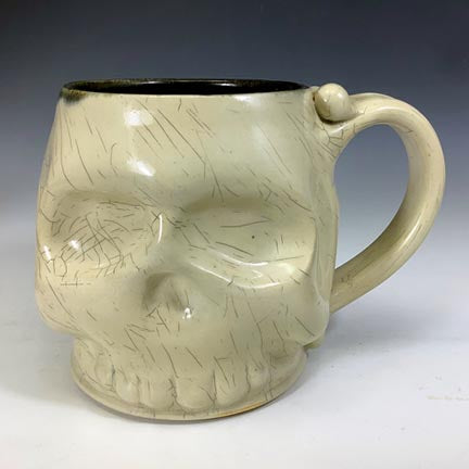 Skull Mug - Craze'd Clear Glaze/Black Interior