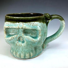 Load image into Gallery viewer, Skull Mug - Blue Celadon/Black Interior