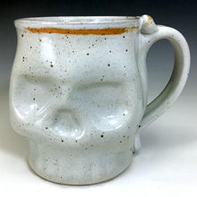 Load image into Gallery viewer, Skull Mug - White Glaze Rusty Rim - Clear Glaze Interior