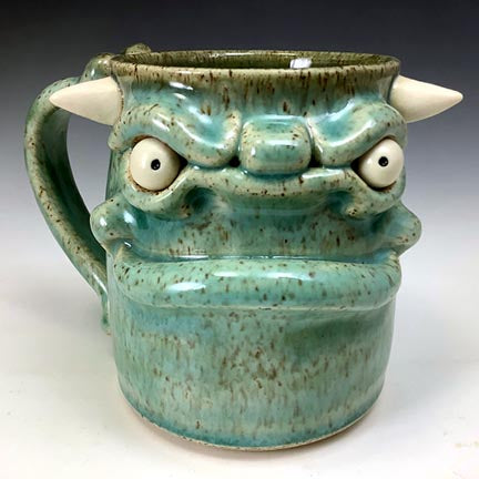 Medium FaceMug - Righty - Celadon Glaze - White Horns - Bone Handle