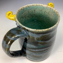 Load image into Gallery viewer, Medium FaceMug - Lefty - Twilight Blue Glaze - Yellow Horns - Tongue