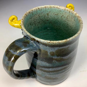 Medium FaceMug - Lefty - Twilight Blue Glaze - Yellow Horns - Tongue