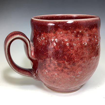 Cat's Regular Joe Mug - Round - Copper Red Glaze - Stamp Texture