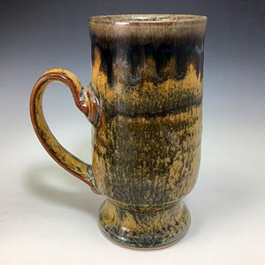 Cat's Regular Joe Mug - Tall Socle - Sooty Shino Glaze