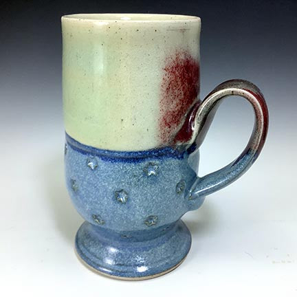 Cat's Regular Joe Mug - Tall Socle - Red/White/Blue Glaze - Star Stamps