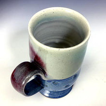 Load image into Gallery viewer, Cat's Regular Joe Mug - Tall Socle - Red/White/Blue Glaze - Star Stamps