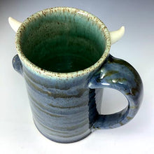 Load image into Gallery viewer, Special Request Hans Tall FaceMug - Righty - Twilight Blue Glaze - WhiteHorns - Wilhem