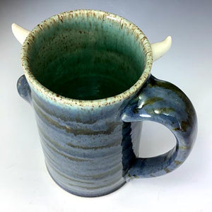 Special Request Hans Tall FaceMug - Righty - Twilight Blue Glaze - WhiteHorns - Wilhem