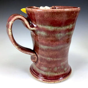 Ooglie Eye Tall Mug - LEFTY - Raspberry Glaze - Yellow Horns