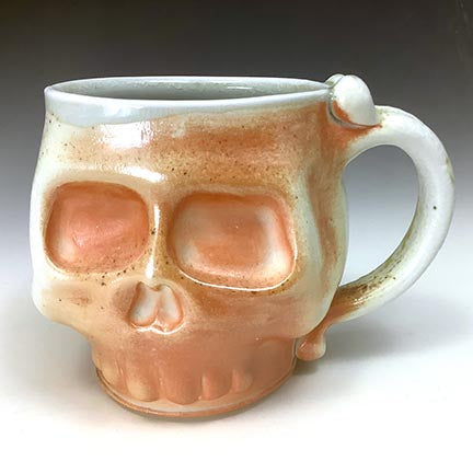 Skull Mug - Wood Fired Slip Flash