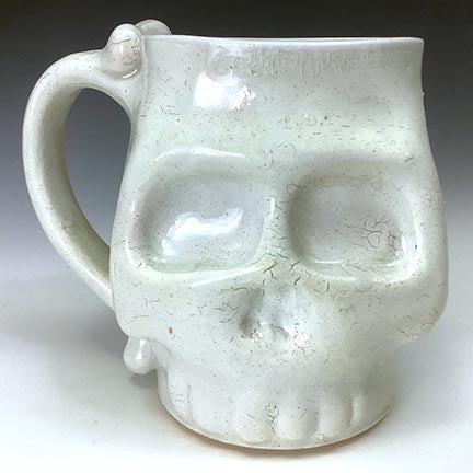 Skull Mug - Wood Fired - Clear Glaze