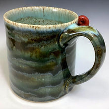 Load image into Gallery viewer, Med FaceMug-Righty-Twilight Blue Glaze/RedHorns/ThirdEye