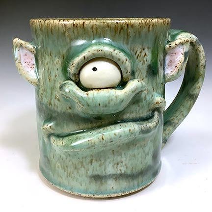 Med FaceMug-Lefty-Celadon Glaze-OneEyeTroll