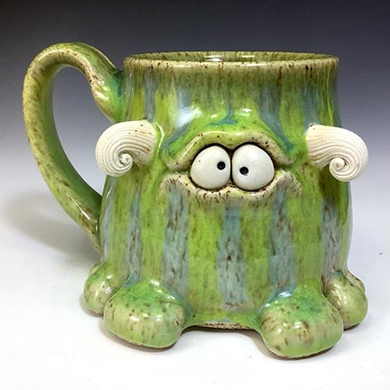 Timmit Mug - Righty - Celadon/Bigbird Glaze - CurlyHorns - Confuzzled