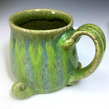 Load image into Gallery viewer, Timmit Mug - Righty - Celadon/Bigbird Glaze - CurlyHorns - Confuzzled