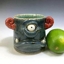Load image into Gallery viewer, Monster Shot - Twilight Blue Glaze - RedHorns - Fangs/OneEye