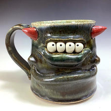 Load image into Gallery viewer, Med FaceMug-Righty-TwilightBlue Glaze/RedHorns/4Eyes