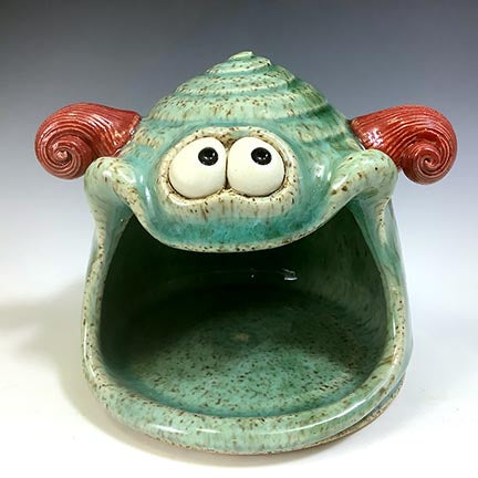 Spoon Monster - Celadon Glaze - RedHorns
