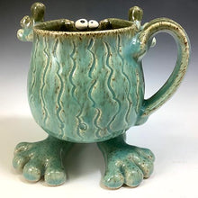 Load image into Gallery viewer, Walker Mug - Righty - Celadon Glaze - Carved Wavy