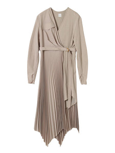 PLEATED WRAP RIB DRESS