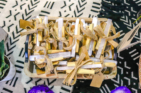 New product, Palo Santo and Selenite Wands (Clearing Bundle), for the brand at the Melanin Market LV
